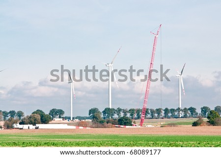 built wind power stations - stock photo