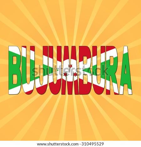 Bujumbura flag text with sunburst illustration - stock photo