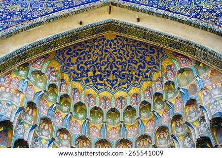 BUKHARA, UZBEKISTAN - MARCH 14, 2015: Dome of an ancient mosque. Fragment. - stock photo
