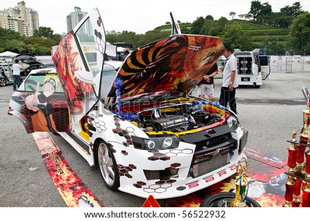 BUKIT JALIL, MALAYSIA - JULY 3 : One of the participant's car in 2010 SUPERAUTOMIX event on July 3, 2010 in Bukit Jalil, Malaysia - stock photo