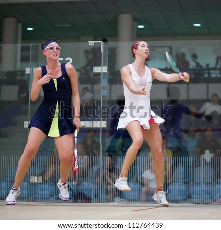 BUKIT JALIL, MALAYSIA - SEPTEMBER 11: Donna Urquhart (white) defeats Lucie Fialova at the CIMB Malaysian Open Squash Championship 2012 on September 11, 2012 at the National Squash Centre, Malaysia.