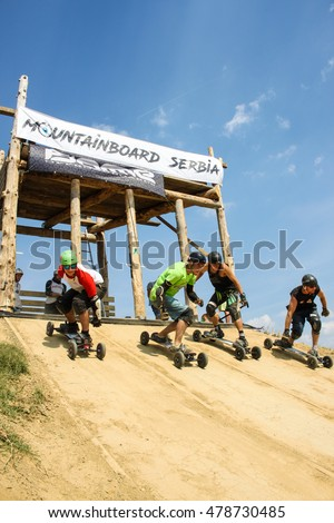 BUKOVAC, Serbia - SEPTEMBER, 3, 2016: World Championship Mountainboard Serbia 2016 was held on mountainboard park near Bukovac, Vojvodina, Serbia on September 3, 2016.