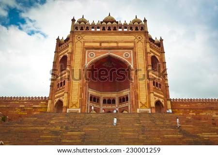Buland Darwaza, the 54 meters high entrance to Fatehpur Sikri complex, Uttar Pradesh, India - stock photo