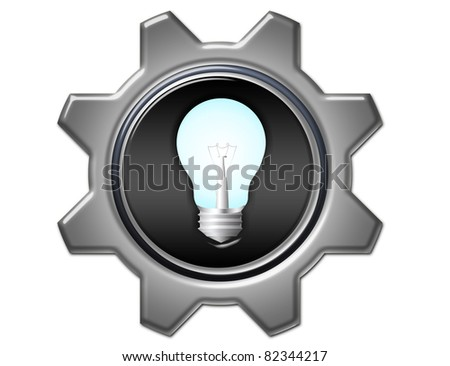 bulb electric with gray gears isolated over white background - stock photo