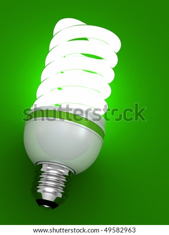 bulb energy saving fluorescent isolated on green background - stock photo