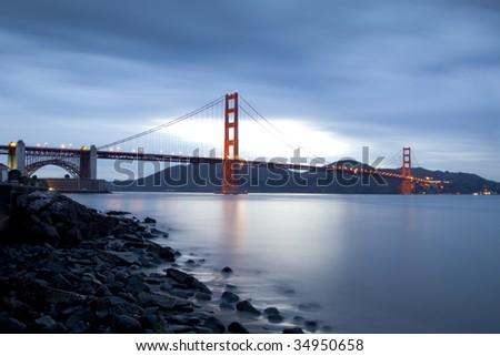 Bulb Exposure of The San Francisco Golden Gate Bridge - stock photo