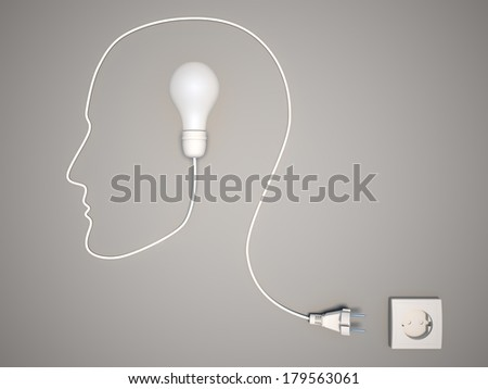 Bulb forming human face profile with its cable - stock photo