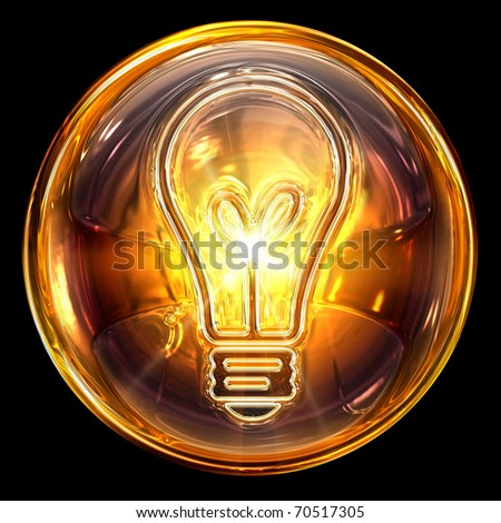 Bulb icon fire, isolated on black background - stock photo
