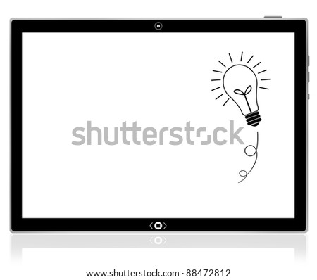 Bulb idea on PC tablet computer - stock photo