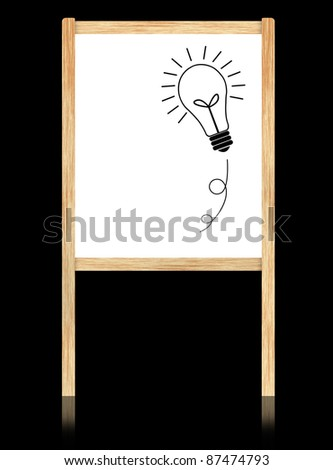 bulb idea on whiteboard with wooden frame  isolate on black background.