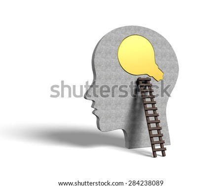 Bulb jigsaw puzzle on human head with wood ladder, change mind concepts - stock photo