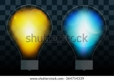 Bulb lamp transparent isolated. Glowing glass lamp with shine color. Lamp silhouette, lamp isolated, lamp bulb, lamp icon. Creative idea, concept, brainstorm. Lamp bulb icon - stock photo