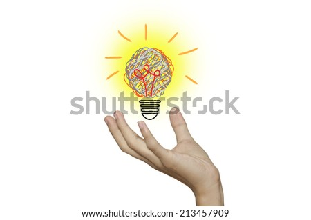 Bulb light and hand on white background. - stock photo