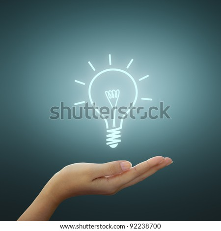 Bulb light drawing idea on woman hand