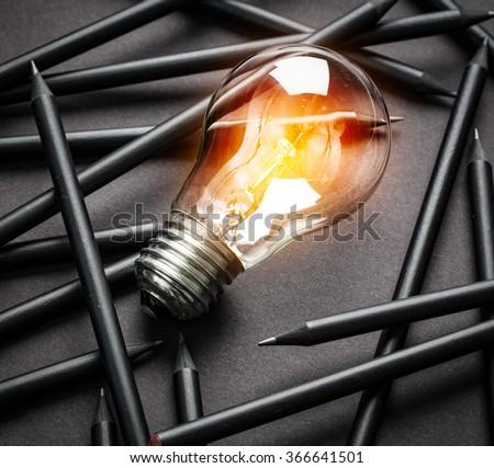 Bulb Light Idea Pencils Paper  - stock photo