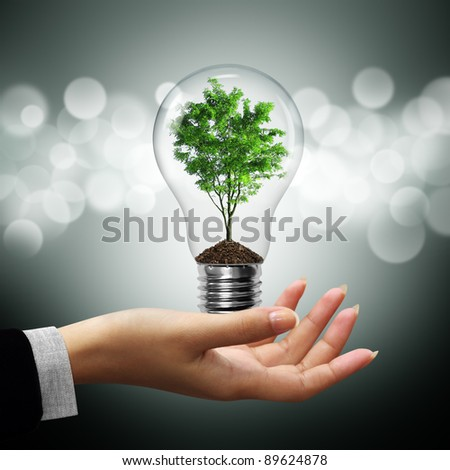 Bulb light with tree inside on woman hand on gray bokeh background - stock photo