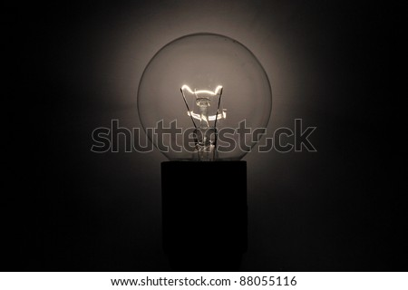 bulb lights brightly in the darkness - stock photo