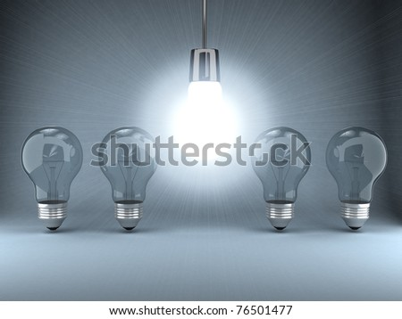 Bulb over background. 3d computer generated image - stock photo