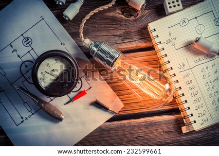 Bulb resistance testing in the laboratory - stock photo