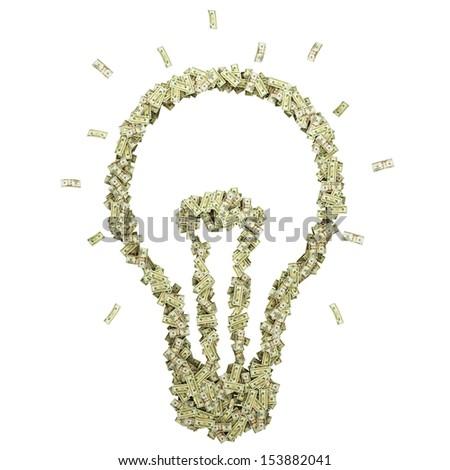 Bulb-shaped pile of money. Isolated on white. - stock photo