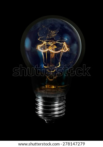 "bulb shining on the world""Elements of this image furnished by NASA """