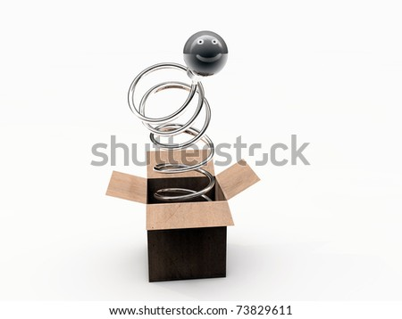 bulb smile in a box isolated on white background