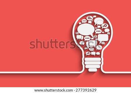 bulb with bubble speech, an idea concept,  illustration for your design - stock photo