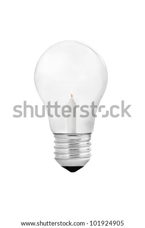 Bulb with candle inside isolated on white background clipping path included. - stock photo