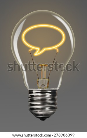 bulb with glowing bubble inside of it, creativity concept - stock photo