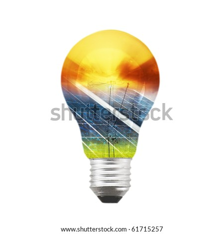 Bulb with gradient of solar panel and sunset - stock photo