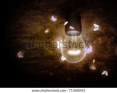 Bulb with moth - stock photo