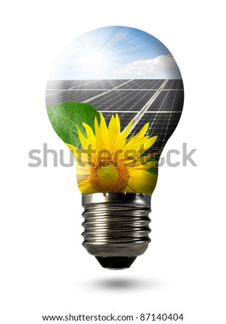 Bulb with  of solar panel - stock photo