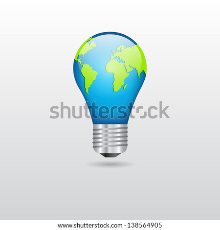 Bulb with planet. Abstract background. Raster version of the loaded vector - stock photo