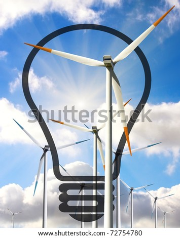 Bulb with windmills, useful for energy concept - stock photo