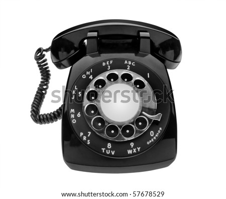 Bulbous black dial phone shot with semi fisheye lens to emphasize round elements, isolated and includes clipping path