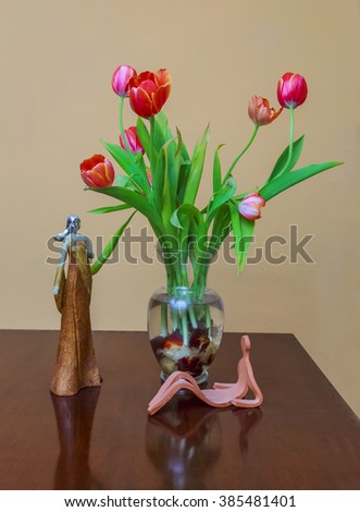 Bulbs Colorful Tulips Glass Vase On Stock Photo Royalty Free