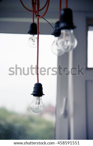 bulbs on the wire, shallow depth of field, natural light