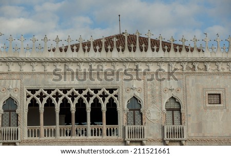 Bulding with name Co d Oro with famours details on house walls, Venice Italy - stock photo