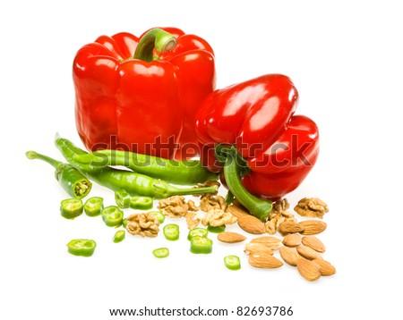 bulgaran pepper on white background - stock photo
