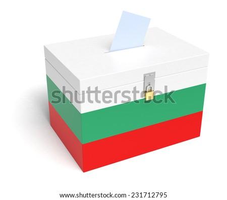 Bulgaria ballot box with Bulgarian Flag. Isolated on white background. - stock photo