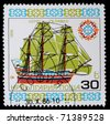 "Bulgaria - CIRCA 1986: A post stamp printed in Bulgaria shows image sail ship  ""Saint Paul"" , circa 1986 - stock photo"