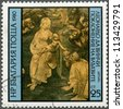 "BULGARIA - CIRCA 1980: A stamp printed in Bulgaria shows ""Adoration of the Magi"" by Leonardo da Vinci, circa 1980 - stock photo"