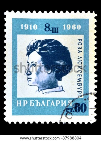 "BULGARIA - CIRCA 1960: A stamp printed in Bulgaria shows Female public figure - Rosa Luxemburg with the inscription ""Rosa Luxemburg,1910-1960"" from the series ""50 International Women's Day"",circa 1960"