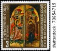 "BULGARIA - CIRCA 1977: A Stamp printed in BULGARIA shows the Annunciation, Royal Gates, Veliko Turnovo, 16th cent. from the series ""Bulgarian icons"", circa 1977 - stock photo"