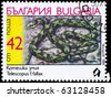 "BULGARIA - CIRCA 1989: A Stamp printed in BULGARIA shows the image of a Cat Snake with the description ""Telescopus fallax"" from the series ""Snakes"", circa 1989 - stock photo"