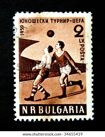 BULGARIA - CIRCA 1959. A stamp printed in Bulgaria to commemorate the UEFA football championship. - stock photo