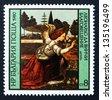 BULGARIA - CIRCA 1980: a stamp printed in the Bulgaria shows Annunciation, Painting by Leonardo da Vinci, circa 1980 - stock photo