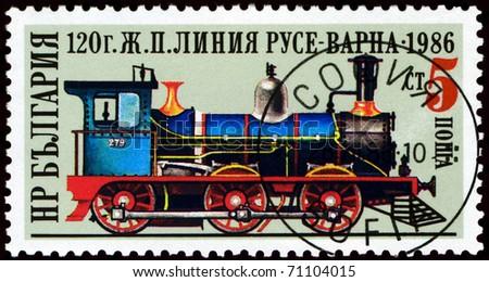 BULGARIA - CIRCA 1986: A Stamp printed in the  Bulgaria  shows  antique  locomotive,  circa 1986 - stock photo