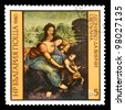 "BULGARIA - CIRCA 1980: A Stamp shows the fragment of the painting of Leonardo da Vinci ""Saint Anna"" with the same inscription, from the series 'Paintings by Leonardo da Vinci', circa 1980 - stock photo"