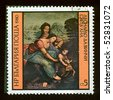 "BULGARIA - CIRCA 1980: A Stamp shows the fragment of the painting of Leonardo da Vinci ""St. Anna"", circa 1980 - stock photo"